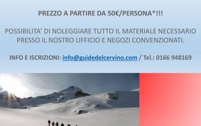 March promotion : Skitouring and free ride with a Cervino Mountain guide