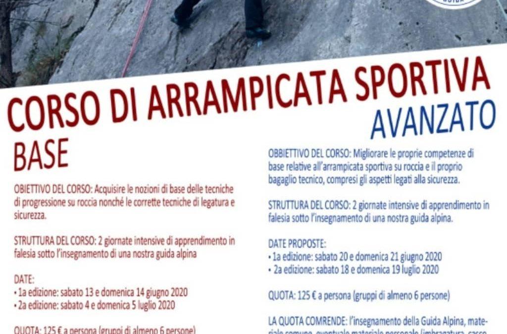 Estate 2020 : corso di arrampicata sportiva base/avanzato