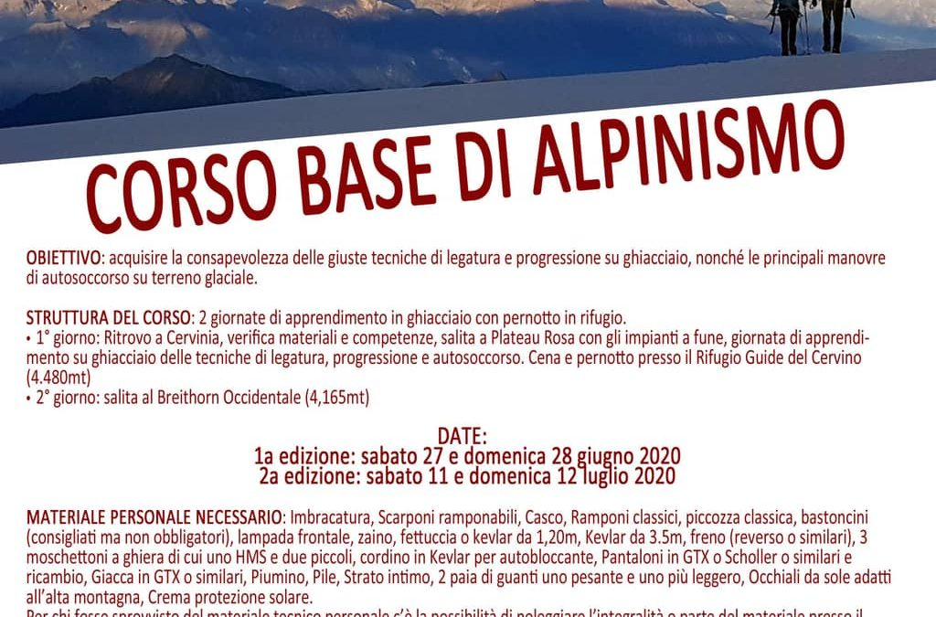 Estate 2020 : corso base di alpinismo