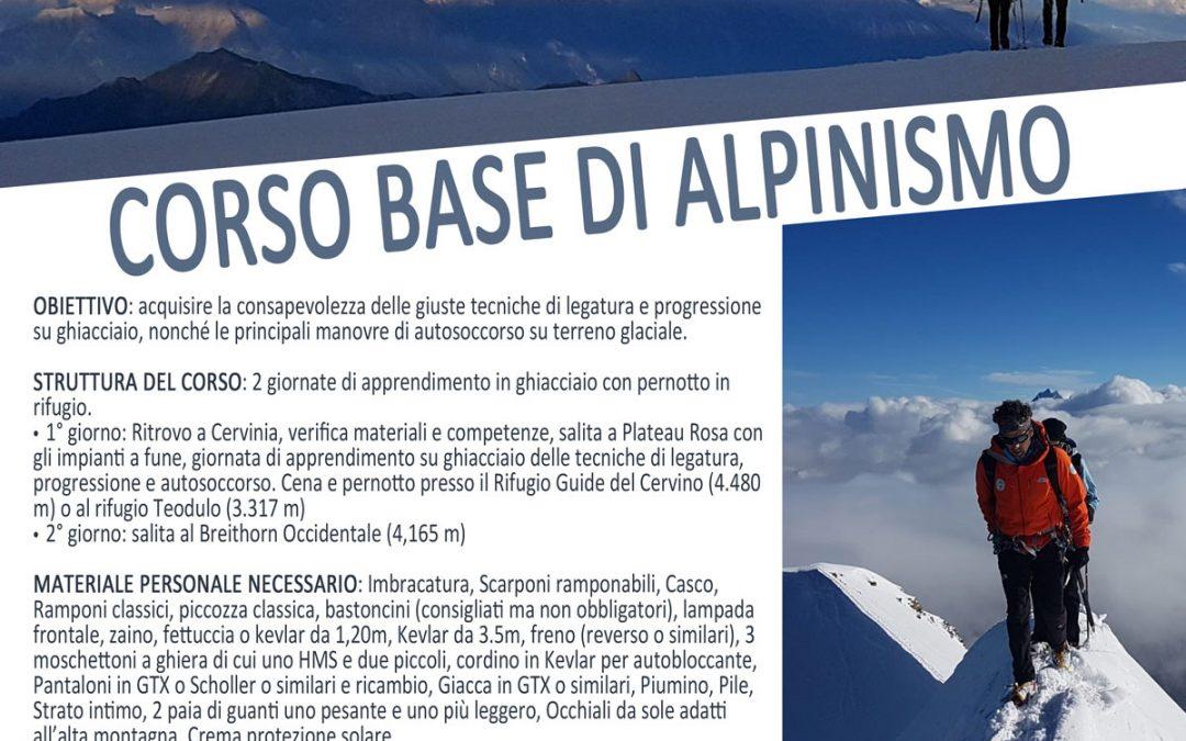 Giugno – luglio 2021 : CORSO BASE DI ALPINISMO (2gg) ogni fine di settimana