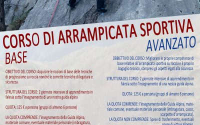 June – July 2021 : 2 days climbing course, every week end
